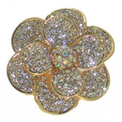 AZALEA gold plated crystal flower scarf clip or brooch