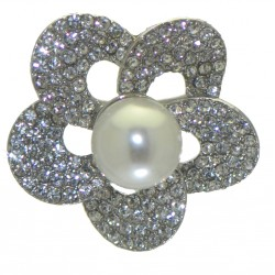 BEGONIA silver plated crystal faux pearl scarf clip - brooch