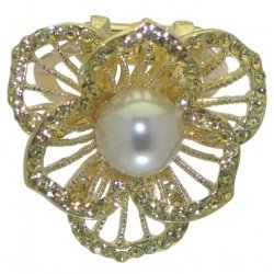 BERGAMOT gold plated crystal faux pearl scarf clip or brooch