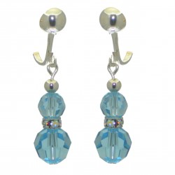 AMUNET silver plated aquamarine crystal clip on earrings