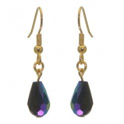 BETRESH gold plated cobalt blue ab crystal glass hook earrings