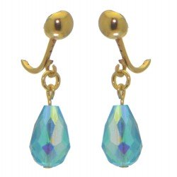 BETRESH gold plated turquoise ab crystal glass clip on earrings