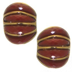 ALISON gold tone burgundy clip on earrings