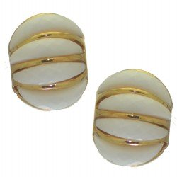 ALISON gold tone white clip on earrings