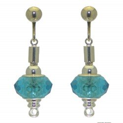 ECLECTICA silver plated turquoise crystal clip on earrings