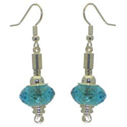 ECLECTICA silver plated turquoise crystal hook earrings
