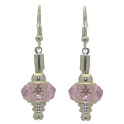 ECLECTICA silver plated rose pink crystal hook earrings