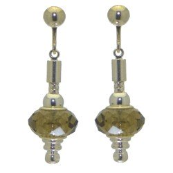 ECLECTICA silver plated light amber crystal clip on earrings