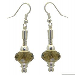 ECLECTICA silver plated light amber crystal hook earrings