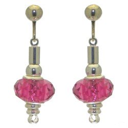 ECLECTICA silver plated fuchsia pink crystal clip on earrings