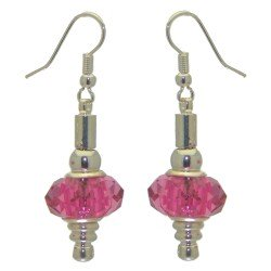 ECLECTICA silver plated fuchsia pink crystal hook earrings