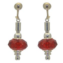 ECLECTICA silver plated ruby red crystal clip on earrings