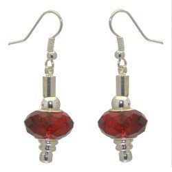 ECLECTICA silver plated ruby red crystal hook earrings