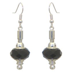 ECLECTICA silver plated jet black crystal hook earrings