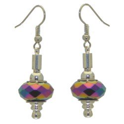 ECLECTICA silver plated multi coloured ab crystal hook earrings