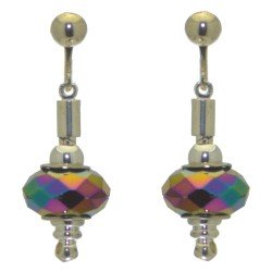 ECLECTICA silver plated multi coloured ab crystal clip on earrings