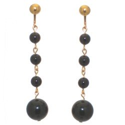 MARTINIQUE gold plated black faux pearl drop clip on earrings