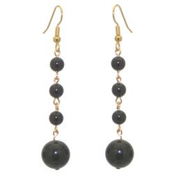 MARTINIQUE gold plated black faux pearl drop hook earrings