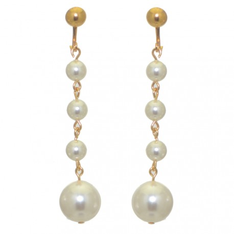 MARTINIQUE gold plated white faux pearl drop clip on earrings