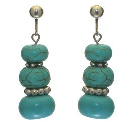 ABILENE silver tone turquoise clip on earrings