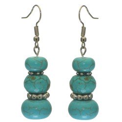 ABILENE silver tone turquoise hook earrings