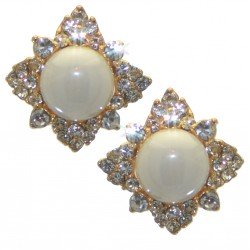 ABELIE gold plated crystal faux pearl clip on earrings