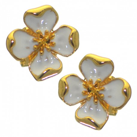 ABAGAIL gold plated white flower clip on earrings