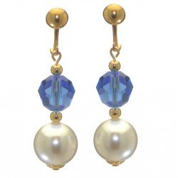 ALEXIA gold plated sapphire blue white faux pearl clip on earrings