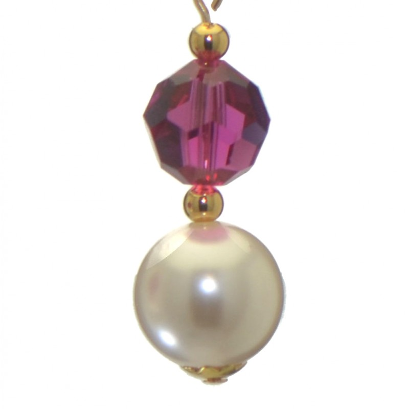 Alexia Gold Plated Fuchsia Pink White Faux Pearl Clip On Earrings