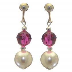 ALEXIA silver plated fuchsia pink white faux pearl clip on earrings