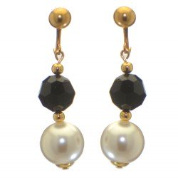 ALEXIA gold plated jet black white faux pearl clip on earrings