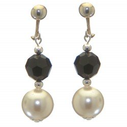 ALEXIA silver plated jet black white faux pearl clip on earrings