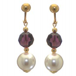 ALEXIA gold plated amethyst white faux pearl clip on earrings