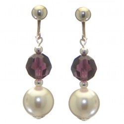 ALEXIA silver plated amethyst white faux pearl clip on earrings