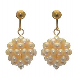 ACACIA gold plated white cultured pearl cluster clip on earrings