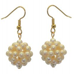 ACACIA gold plated white cultured pearl cluster hook earrings