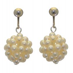 ACACIA silver plated white cultured pearl cluster clip on earrings