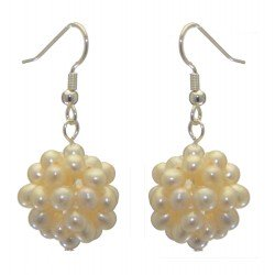 ACACIA silver plated white cultured pearl cluster hook earrings