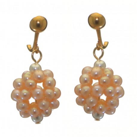 ACACIA gold plated peach cultured pearl cluster clip on earrings