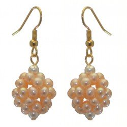 ACACIA gold plated peach cultured pearl cluster hook earrings