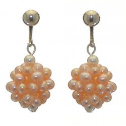 ACACIA silver plated peach cultured pearl cluster clip on earrings