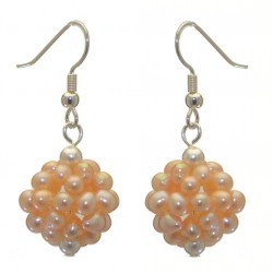 ACACIA silver plated peach cultured pearl cluster hook earrings