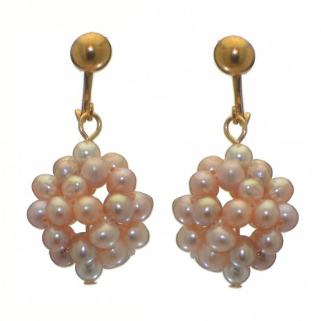ACACIA gold plated pale mauve and pink cultured pearl cluster clip on earrings