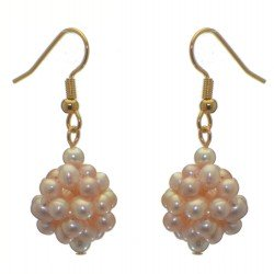 ACACIA gold plated pale mauve and pink cultured pearl cluster hook earrings