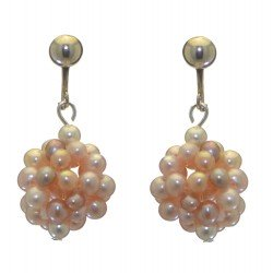 ACACIA silver plated pale mauve and pink cultured pearl cluster clip on earrings