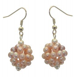 ACACIA silver plated pale mauve and pink cultured pearl cluster hook earrings