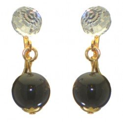 ABRIL gold plated Swarovski Elements crystal and black pearl clip on earrings