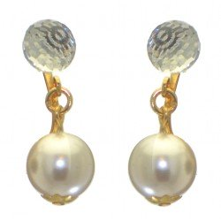 ABRIL gold plated Swarovski Elements crystal and white pearl clip on earrings