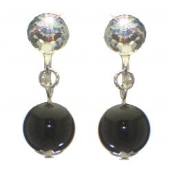 ABRIL silver plated Swarovski Elements crystal and black pearl clip on earrings