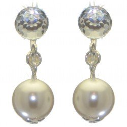 ABRIL silver plated swarovski elements crystal and white pearl clip on earrings